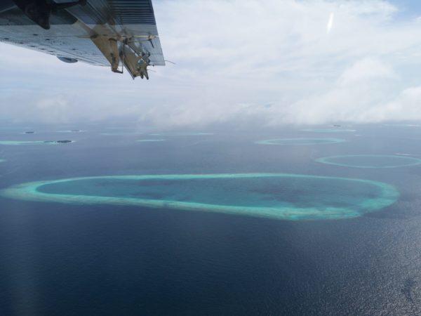 Aussicht Malediven Wasserflugzeug